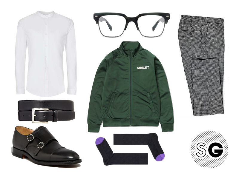 work style, office style, gucci, track jacket, houndstooth, monkstrap, happy socks
