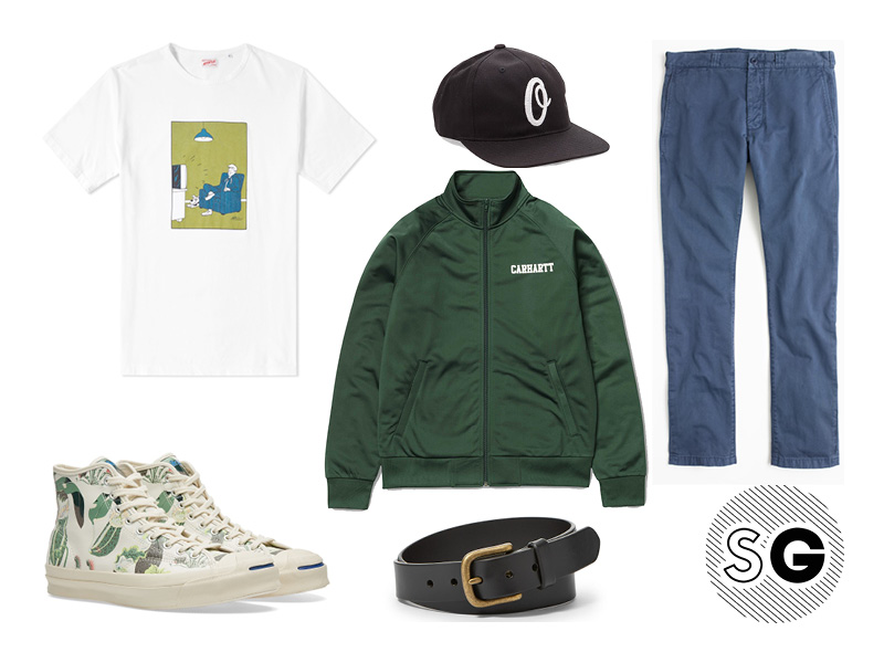 arpenteur, tee, graphic tee, track jacket, chino, jack purcell, converse, collaboration, fossil, obey