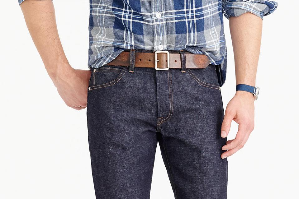 brown casual belt men, jeans men, denim men, plaid shirt,
