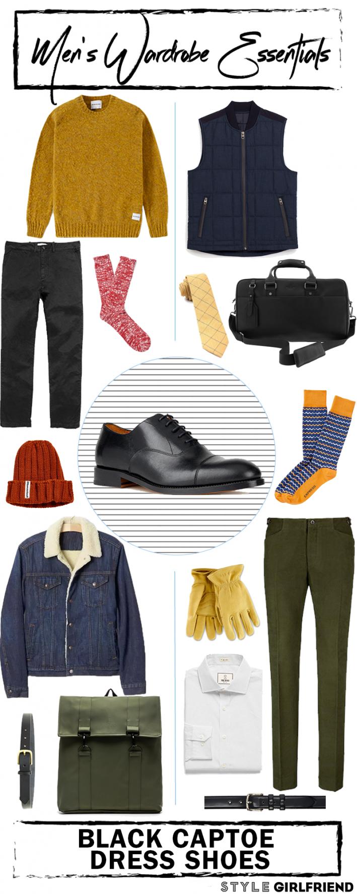 mens wardrobe essentials, menswear laydown, black captoe shoes,