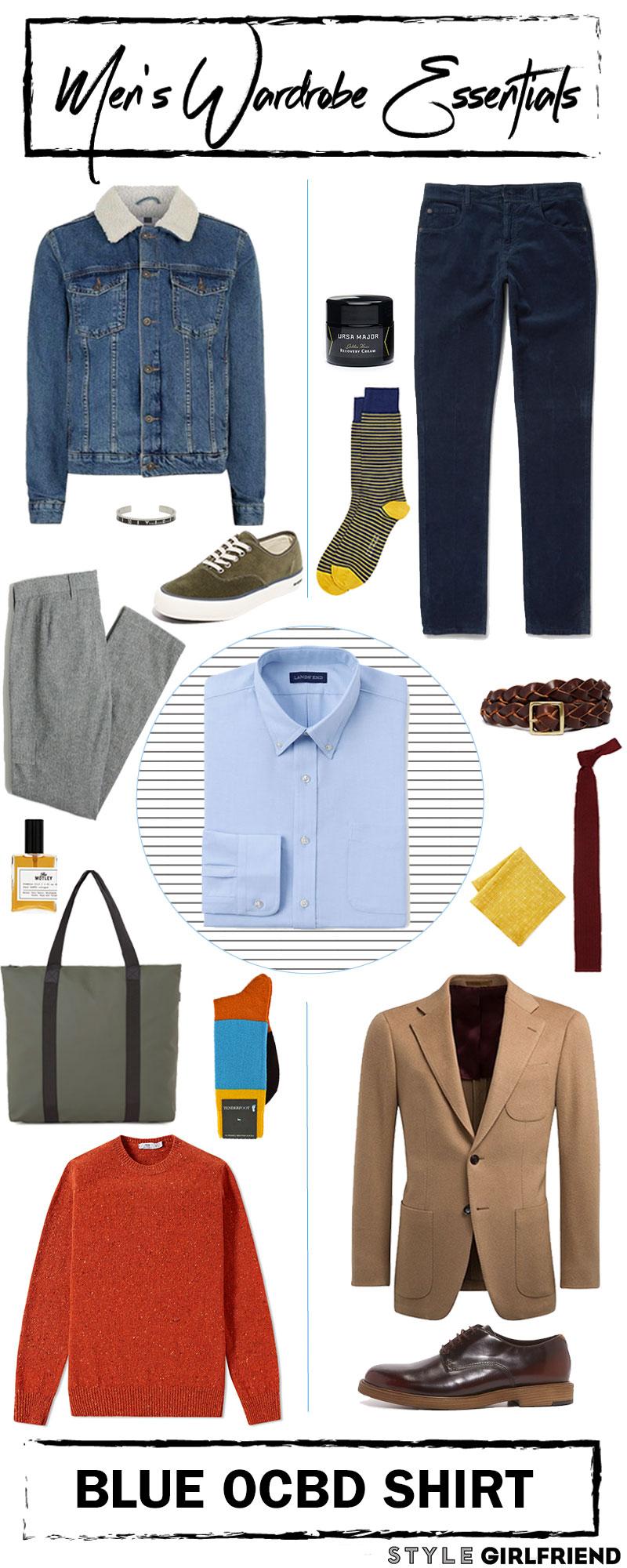 ocbd shirt, oxford shirt, menswear flatlay, flatlay, denim mens jacket, grey trousers, orange sweatshirt, ocbd shirt, style girlfriend,