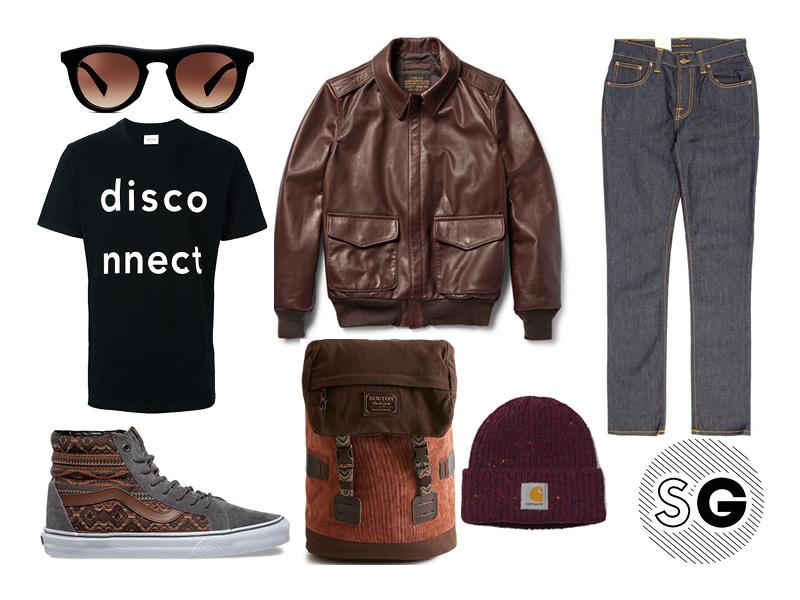 wood wood, pilot jacket, travel style, vans, burton, carhartt wip, warby parker, nudie