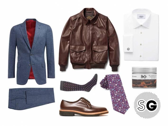 office style, work style, suit supply, leather jacket, pilot jacket