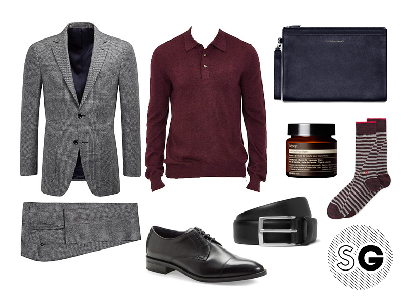 sweater, polo, suit supply, aesop, cole haan, anderson's, office style, calvin klein, fun socks