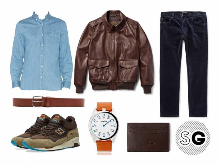 denim shirt, corduroys, leather jacket, pilot jacket, nixon, new balance, frank+oak, gant