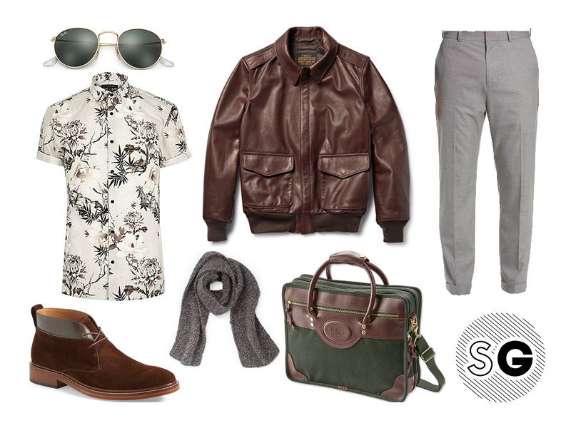 transitional dressing, leather jacket, pilot jacket, schott, vince, cole haan, orvis, man scarf