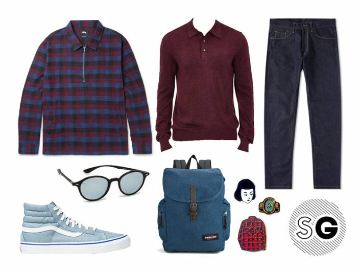 school, back to school, sweater, polo, layer, carhartt, vans, eastpak, ray-ban
