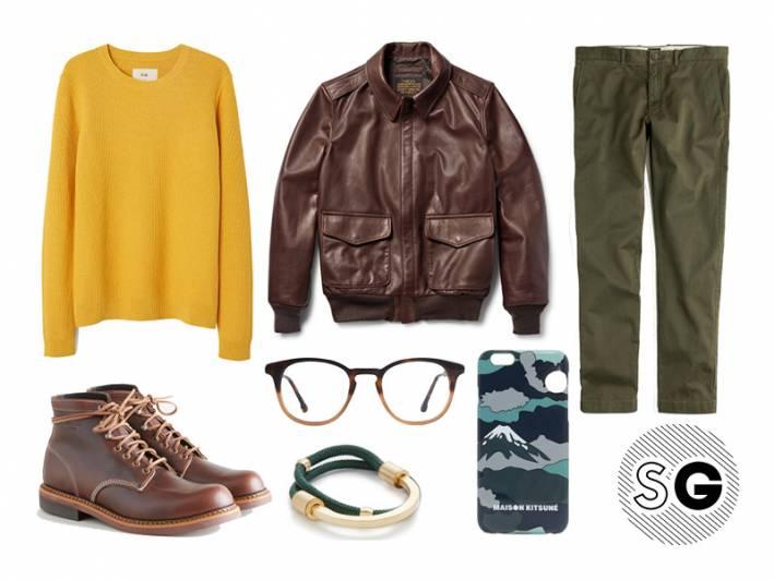 sweater weather, folk, maison kitsune, schott, leather pilot jacket, boots, boot season, steven alan, miansai, jcrew