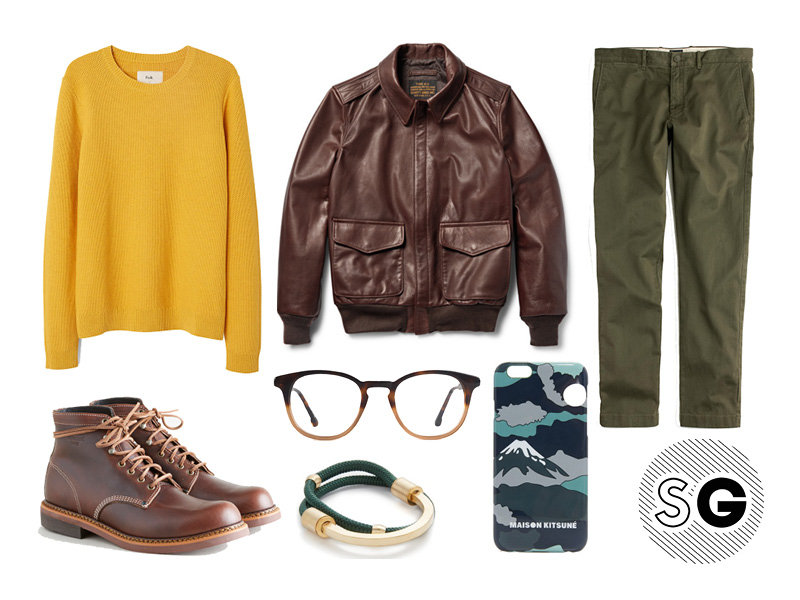 sweater weather, folk, maison kitsune, schott, leather pilot jacket, boots, boot season, steven alan, miansai, jcrew