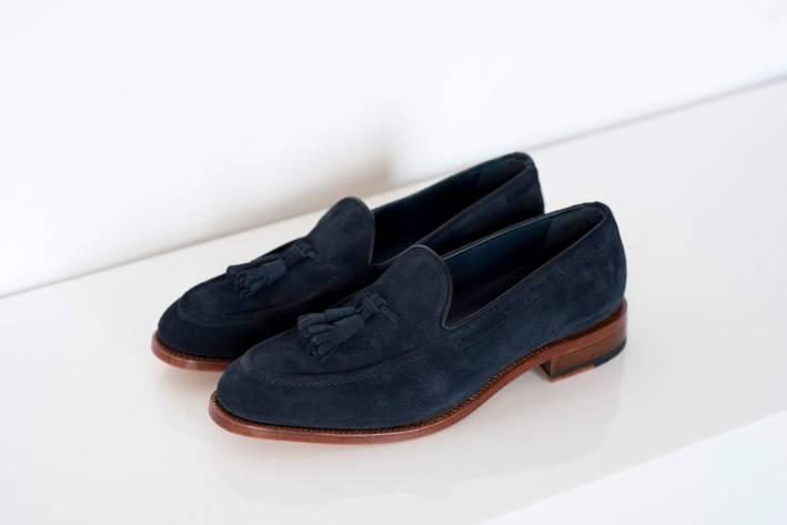tasseled suede loafer - navy