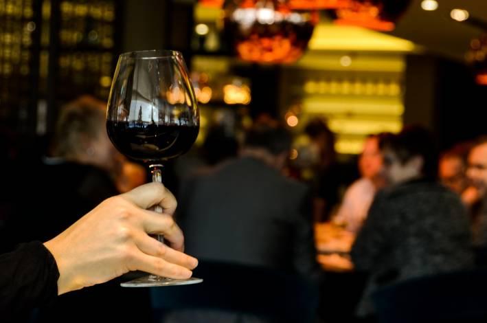 restaurant, glass of wine,