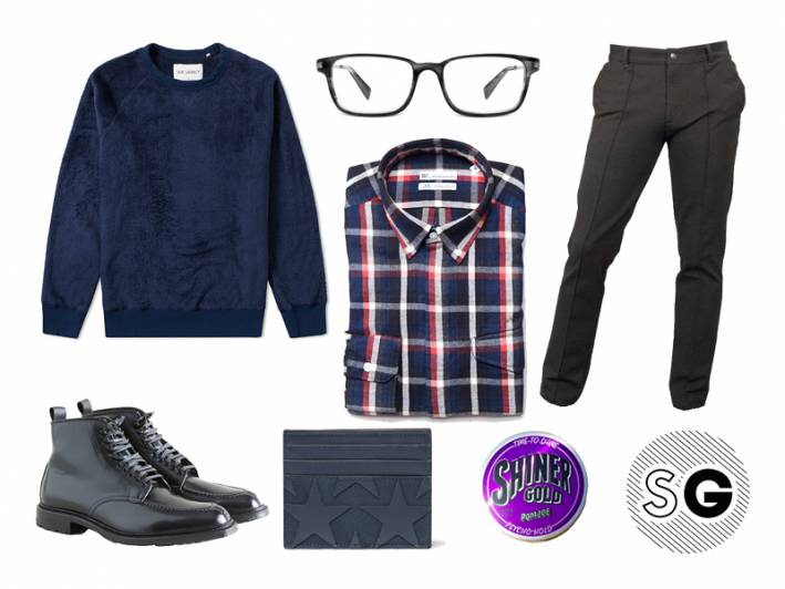 dress sweats, valentino, shiner, fuzzy, alden, brooklyn tailors, date night, warby parker