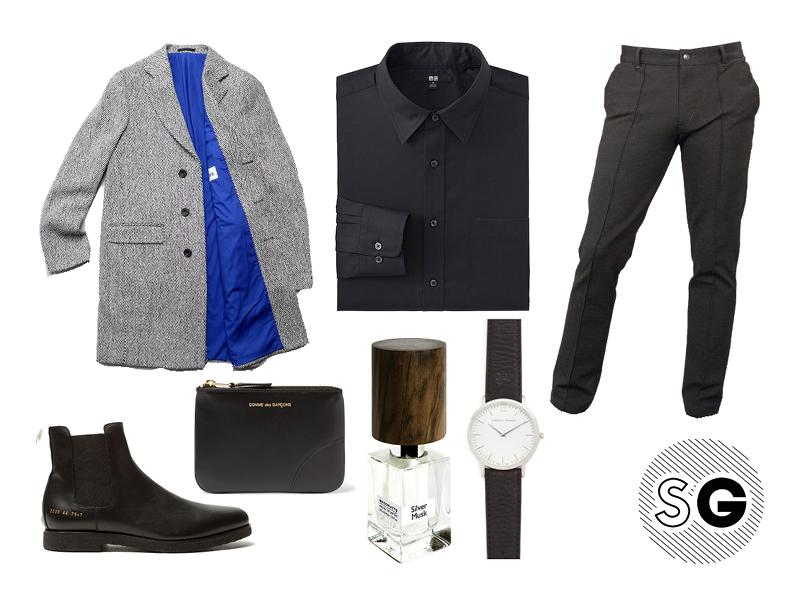 all black, nasomatto, chelsea boots, dress sweats, topcoat, etudes, common projects, larsson & Jennings