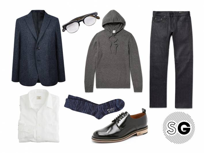date night, aspesi, ami, mr.gray, jean shop, business casual, layer, oliver peoples, j.crew, officine generale
