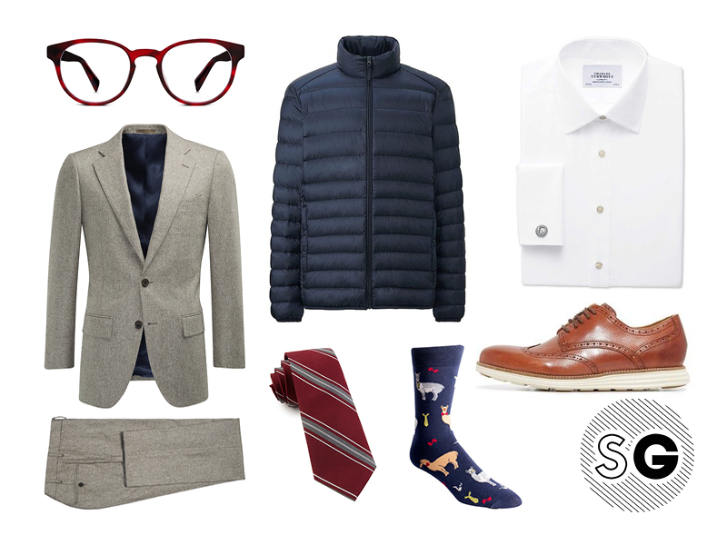 office, work, puffer, suit, suit supply, warby parker, llama, the tie bar, cole haan, charles tyrwhitt