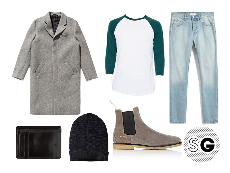 raglan tee, topcoat, chelsea boots, common projects, il bussetto, saturdays nyc, ami