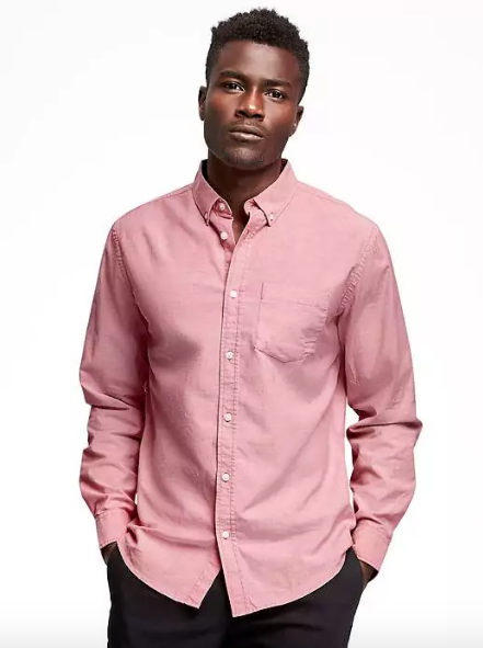 pink ocbd shirt old navy