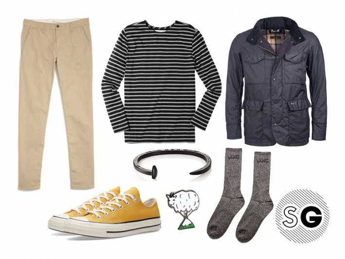 field jacket, waterproof, converse, breton stripe, chinos, pin, giles and brothers, jewelry, socks