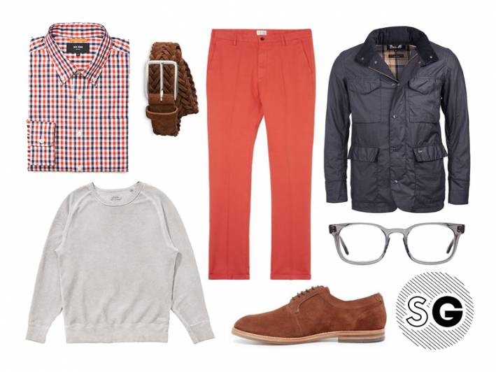 field jacket, colored chinos, layering, office style, bright pants, orange, red, purple, brown suede, warby parker, barbour, saturdays nyc, jack spade, whistles, gant