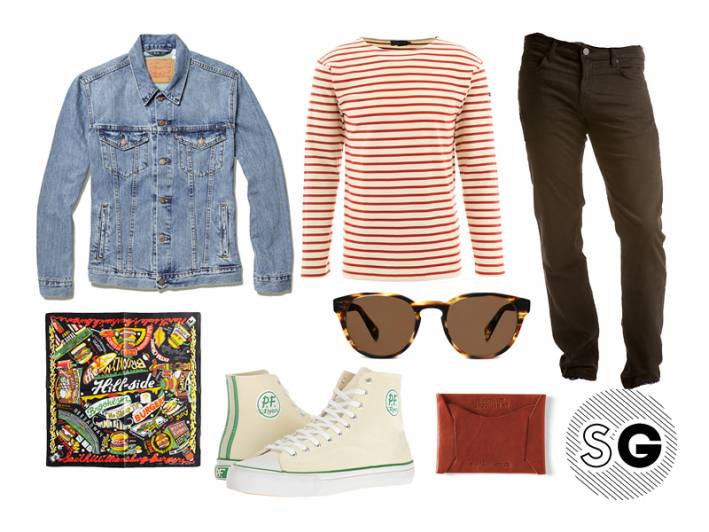 french terry jeans, levi's, jbrand, the hill-side, warby parker, pf flyers, todd snyder,