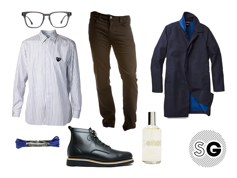 cdg play, french terry jeans, french terry, jbrand, jack spade, stag provisions, helm, gorse, laboratory, casual office, color laces, steven alan, cool glasses