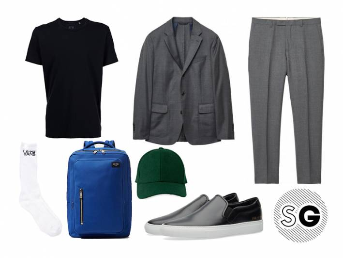 atm, black tee, jack spade, gant, common projects, whistles, vans, suit and tee, suit and cap, casual suit, suit and sneakers