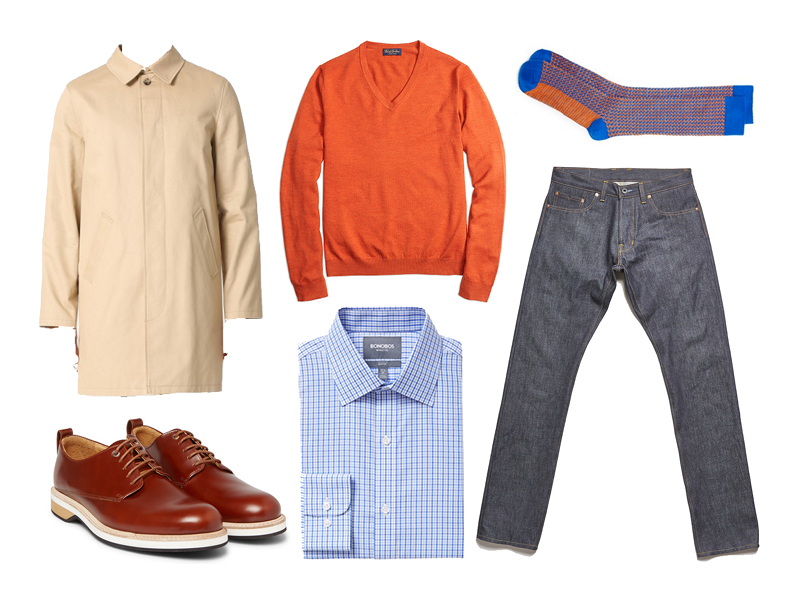 tattersall, complimentary colors, blue and orange, mac jacket, want les essentiels, bonobos, a.p.c., brooks brothers, ace & everett, norman porter