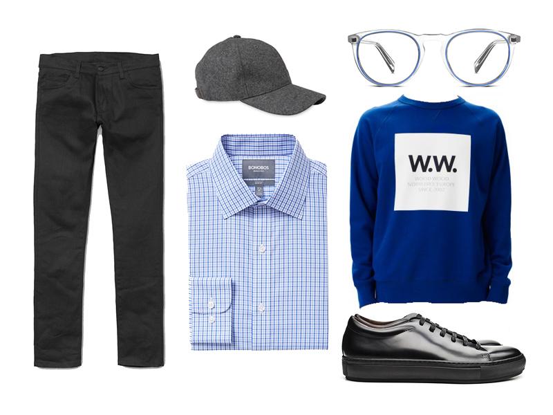 tattersall, weekend, dress shirt, bonobos, wood wood, carhartt wip, whistles, acne studios, warby parker