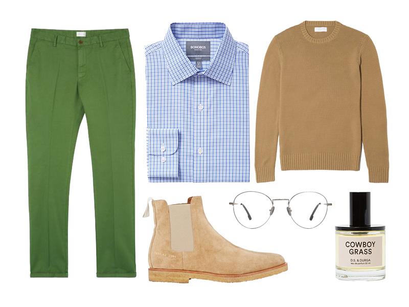 tatersall, vetiver, green, blue, chelsea boots, common projeccts, bonobos, gant rugger, everlane, steven alan optical, d.s. & durga