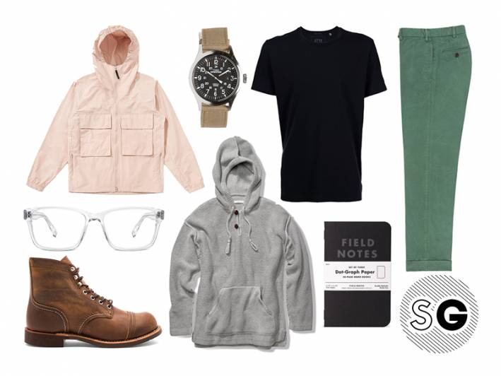 warby parker, red wing, black tee, hoodie, sweater, windbreaker, sid mashburn, timex, field notes, pastels, neutrals, clear glasses