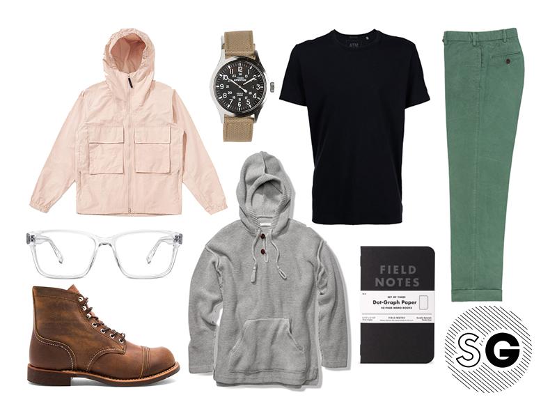 warby parker, red wing, black tee, hoodie, sweater, windbreaker, sid mashburn, timex, field notes, pastels, neutrals, clear glasses