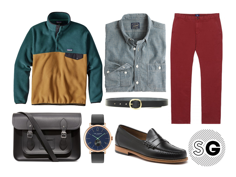 patagonia, fleece pullover, bass, ted baker, j.crew, colorful chinos,