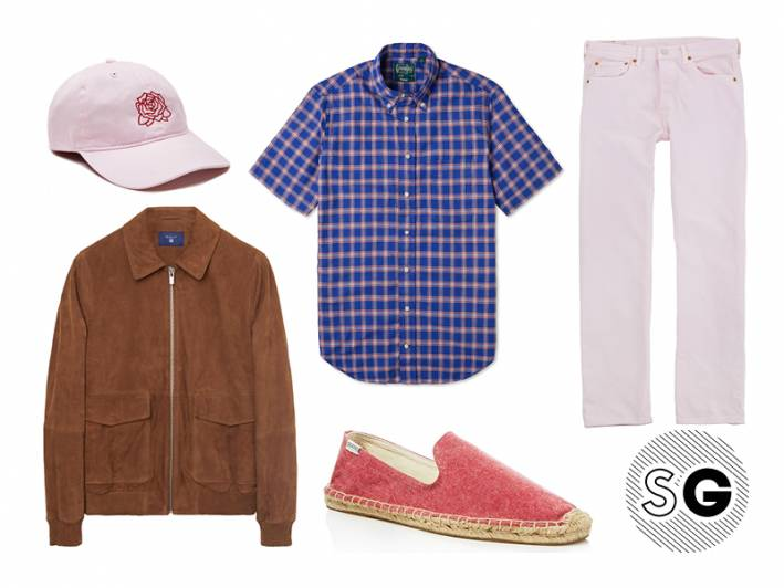 millenial pink, soludos, gant, gitman vintage, levi's, obey