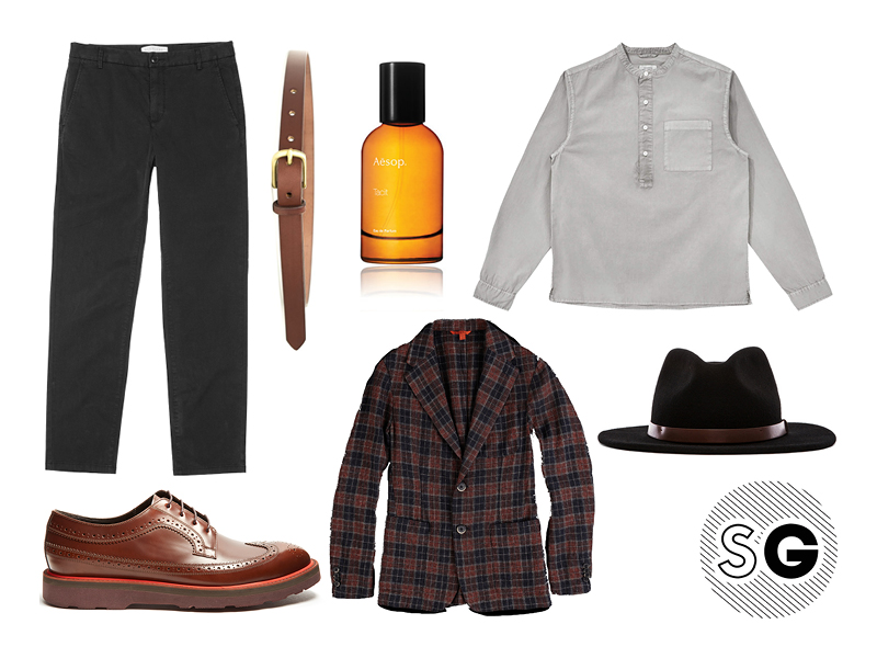 contrast sole shoes, barena, aesop, brixton, saturdays nyc, popover, fedora, maximum henry, plaid jacket, everlane