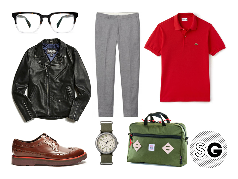 contrast sole shoes, timex, topo designs, schott, lacoste, warby parker, gant rugger, lacoste, paul smith, office style, geek chic, polo, leather jacket