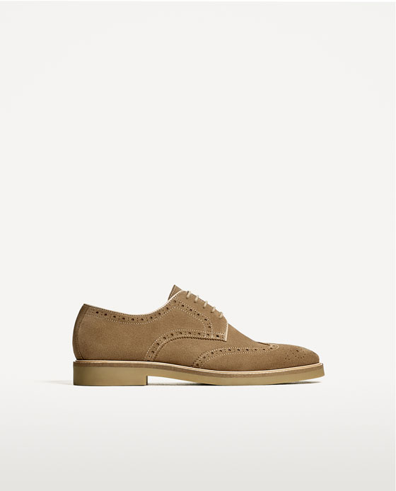 BEIGE LEATHER SHOES WITH BROGUEING