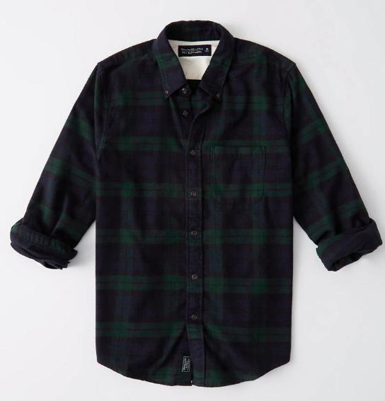 abercrombie green plaid shirt