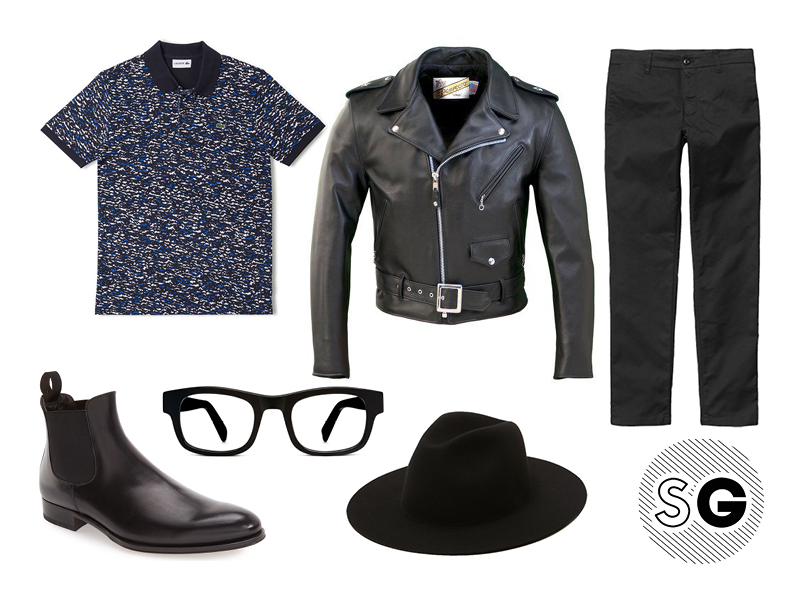 jeff goldblum, printed polo, leather jacket, warby parker, schott nyc, to boot new york, lacoste, carhartt wip, sid pant, etudes
