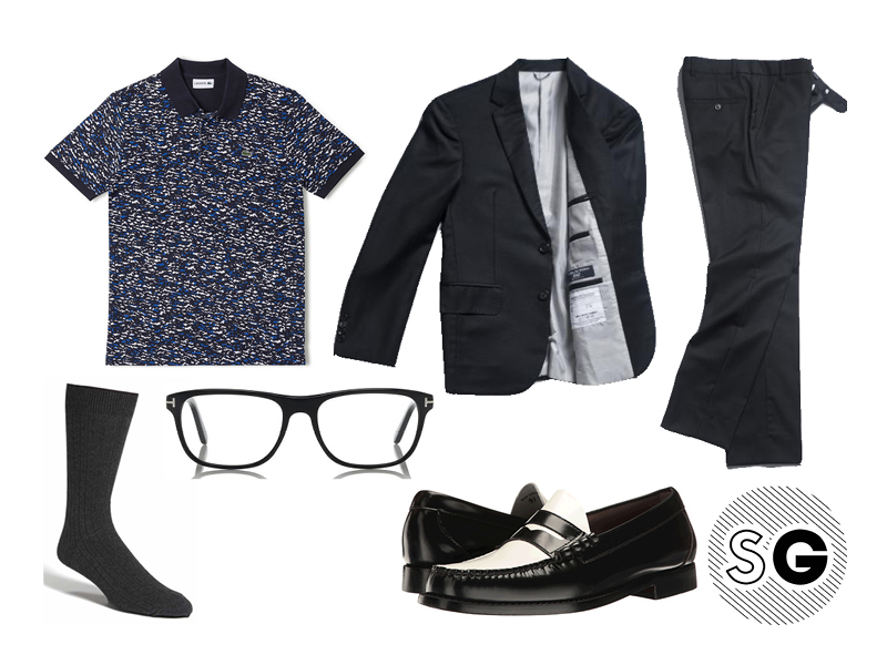 jeff goldblum, printed polo, lacoste, brooklyn tailors, bass, tom ford,