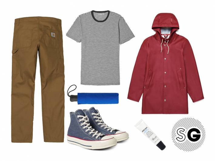 workwear pants, carhartt wip, stutterheim, everlane, converse, baxter of california, april showers, rainy day style