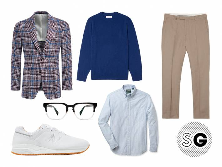 suit supply, checked blazer, blazer, sport coat, statement new balance, gant,