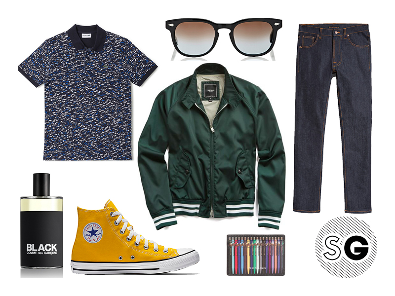 jeff goldblum, printed polo, lacoste, todd snyder, nudie, paul smith, comme des garcons, converse, moscot