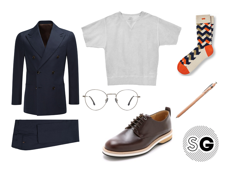 suit supply, short sleeve sweatshirt, saturdays nyc, want les essentiels, pair of thieves, steven alan
