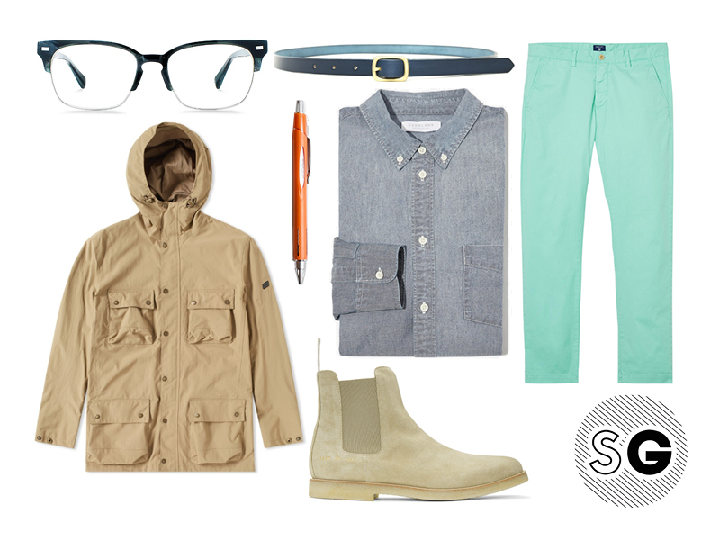 suede chelsea boots, gant, everlane, barbour, warby parker, maximum henry, uni, common projects