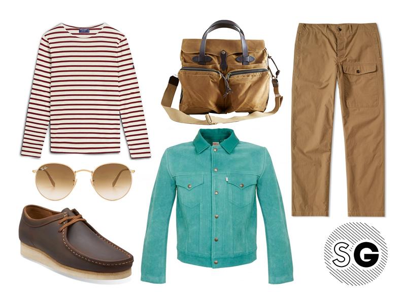 suede jacket, breton shirt, saint james, filson, ray-ban, clarks, wallabees, albam, levi's