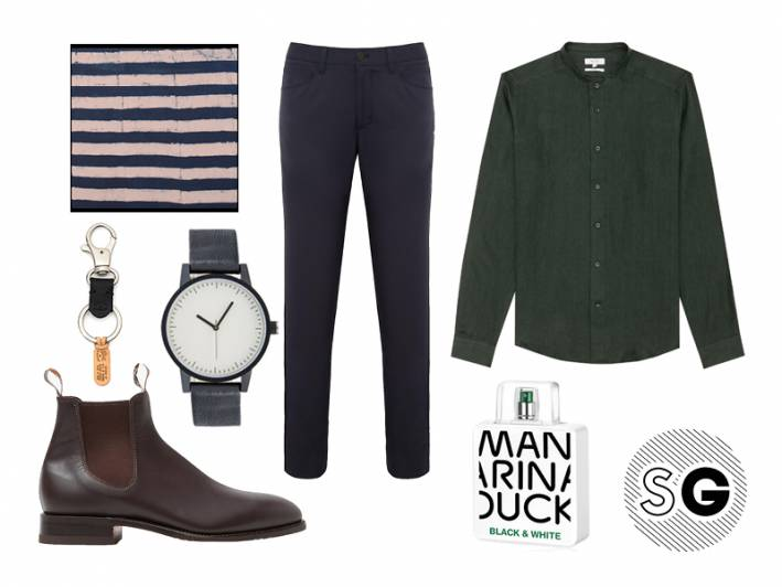 tech pants, theory, chelsea boots, unionmade, simple watch, il bisonte, mandarina duck,