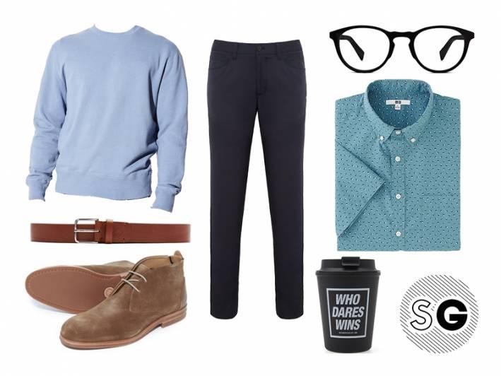 tech pants, uniqlo, hudson, gant, theory, warby parker, neighborhood, steven alan