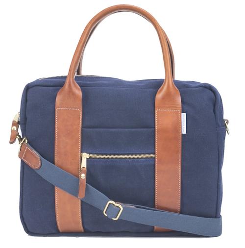 boarding pass navy canvas briefcase