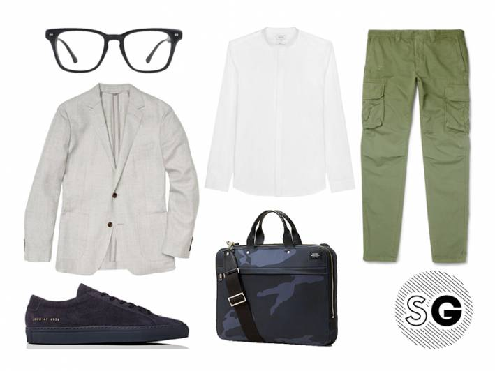 unstructured blazer, bonobos, steven alan optical, jack spade, common projects on sale, incotex, cargo pants, band collar, reiss