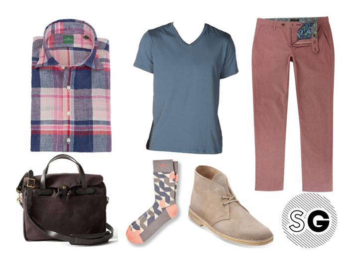 v-neck tee, ted baker, clarks, pair of thieves, sid mashburn, filson